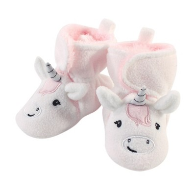 Hudson Baby Infant and Toddler Girl Cozy Fleece Booties, Silver White Unicorn