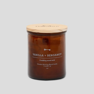 Lidded Glass Jar Crackling Wooden Wick Candle Vanilla and Bergamot - Threshold™