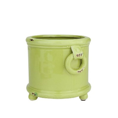 """Napa Home & Garden 6.25"""" Weathered Indoor Planter with Handles and Feet - Green"""