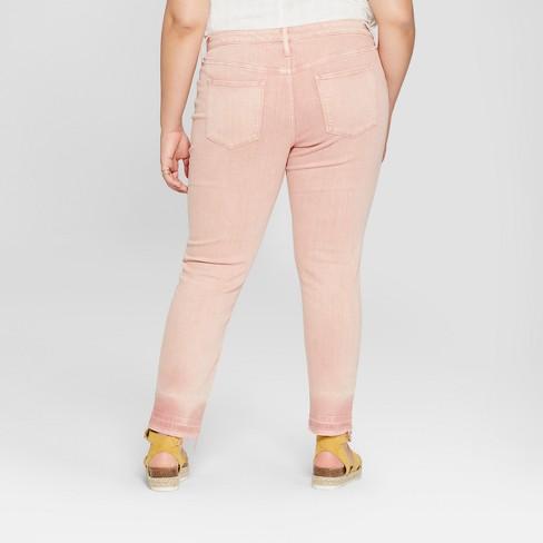 1a08f51acad Women s Plus Size Released Hem Skinny Jeans - Universal Thread™ Pink 26W    Target