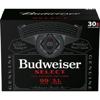 Budweiser Select Full-Flavored Light Lager Beer - 30pk/12 fl oz Cans