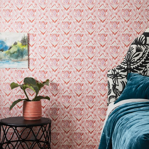 Washy Ikat L Stick Removable Wallpaper C Pink Opalhouse Target