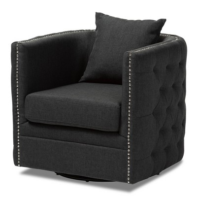 Micah Fabric Upholstered Tufted Swivel Chair Black - Baxton Studio