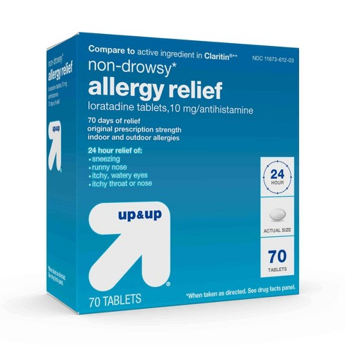 Loratadine Antihistamine 10mg Non Drowsy Allergy Relief Tablets - 70ct -  Up&Up™ (Compare to active ingredient in Claritin)