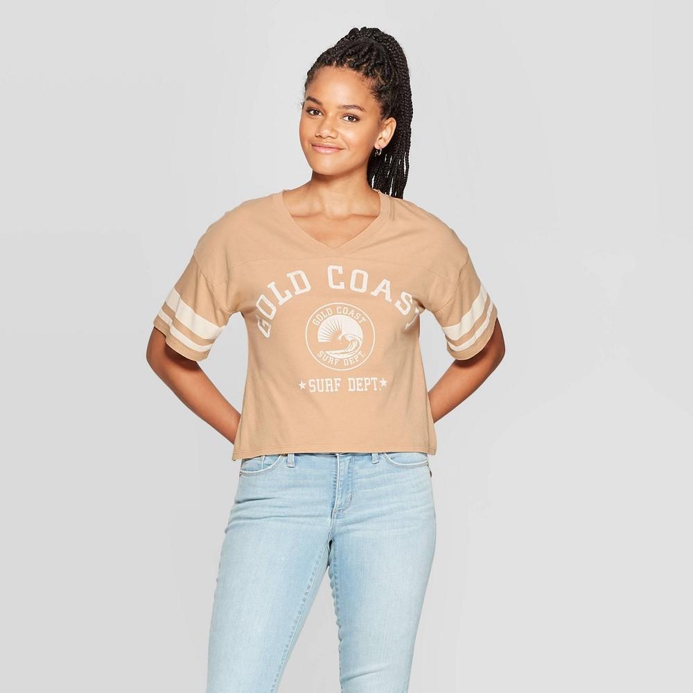 Image of Women's Gold Coast Surf Short Sleeve Cropped Varsity T-Shirt - Grayson Threads (Juniors') - Tan L, Size: Large, Beige