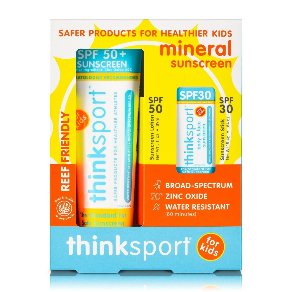 Image of thinksport Kids' Safe SPF 50 Sunscreen Lotion - 3 fl oz and SPF 30 Stick - 0.64oz