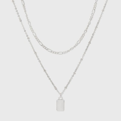 Rectangle Charm Layered Chain Pendant Necklace - A New Day™ Silver