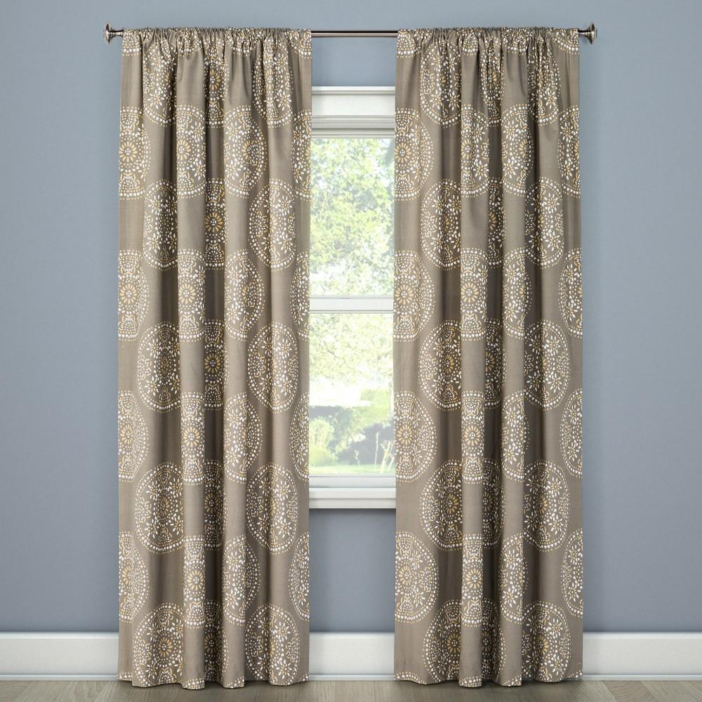 Tile Medallion Curtain Panel Gray Stone (108) - Threshold, White Brown Beige
