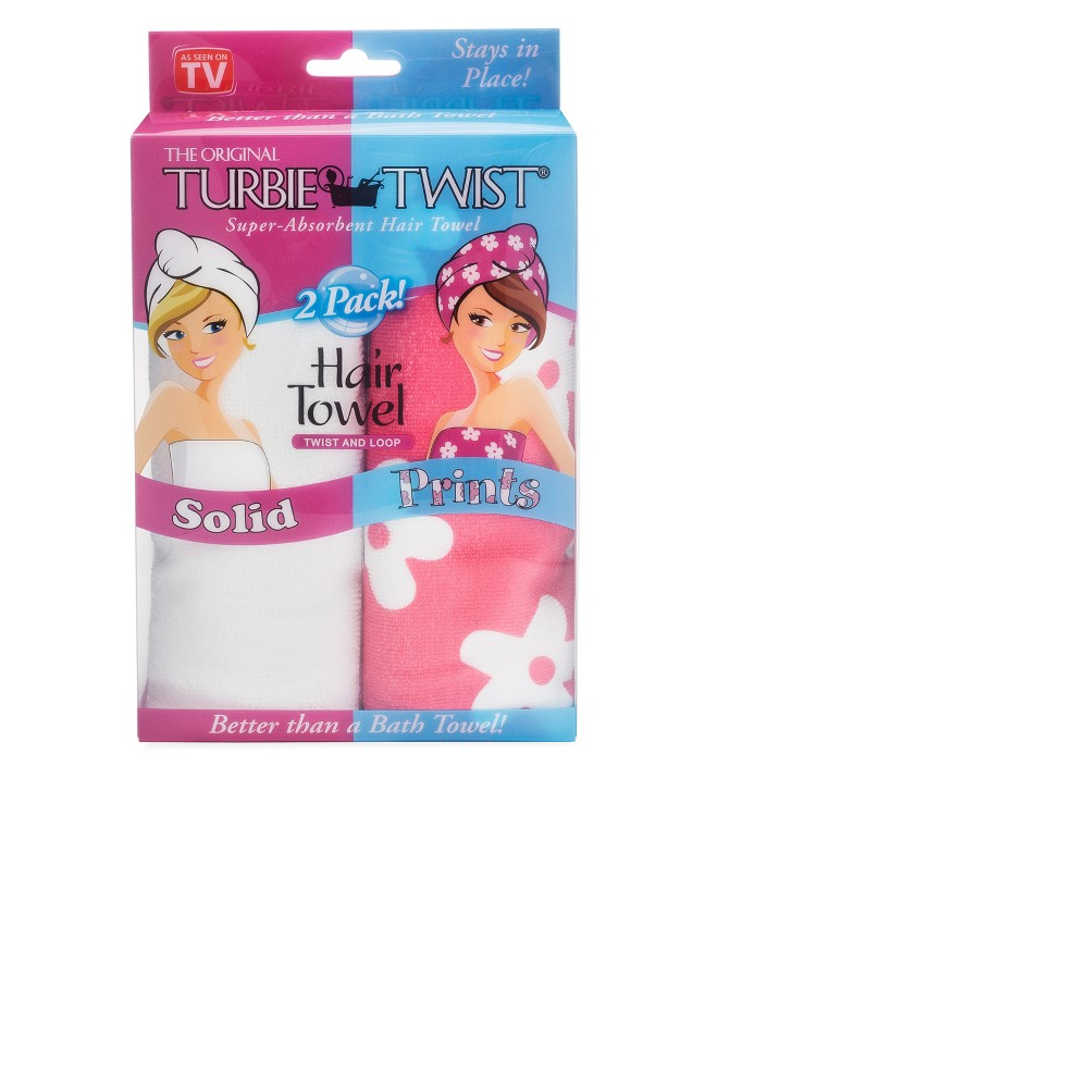 Image of Turbie Twist Microfiber Hair Towel Pink Flower and White - 2pk
