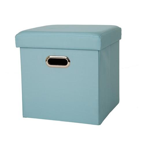 Astounding Cube Foldable Storage Ottomans Aqua Glitzhome Cjindustries Chair Design For Home Cjindustriesco