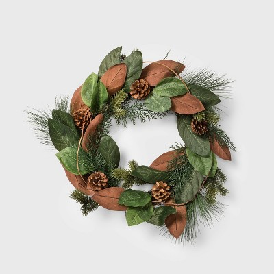 "20"" Magnolia Leaf and Pine Cone Artificial Christmas Wreath - Wondershop™"