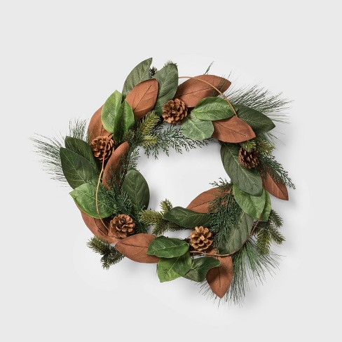 Christmas Wreath.20 Magnolia Leaf And Pine Cone Artificial Christmas Wreath Wondershop