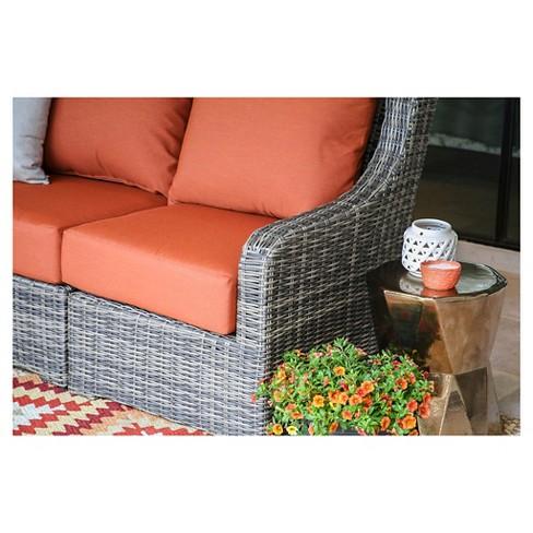 Cherry Hill 5pc All Weather Wicker Patio Sectional W Sunbrella Fabric Canvas Brick Ae Outdoor
