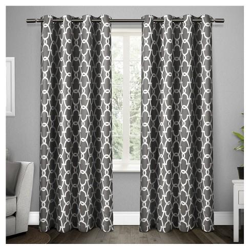 Gates Sateen Woven Room Darkening Grommet Top Window Curtain Panel Pair - Exclusive Home™ - image 1 of 4