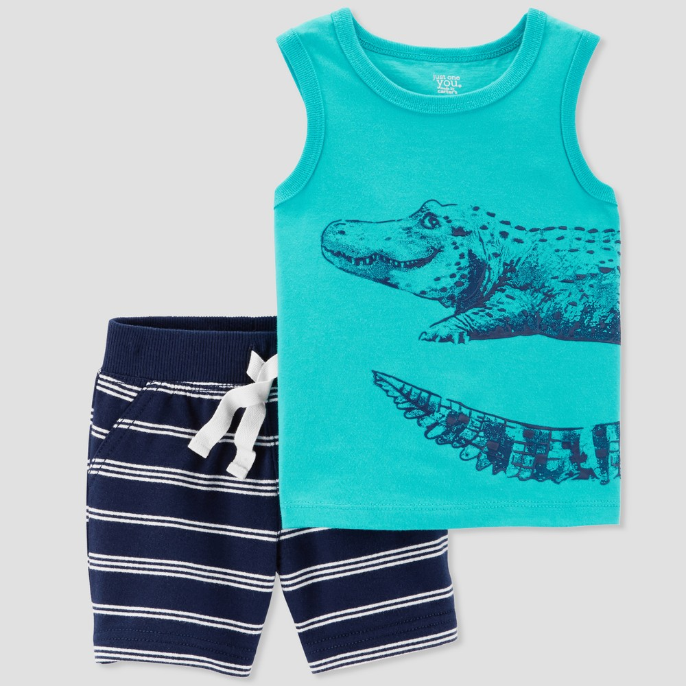Image of Baby Boys' 2pc Alligator Tank and Stripe Shorts Set - Just One You made by carter's Blue/White Newborn, Boy's