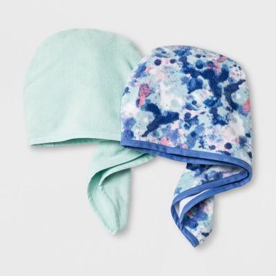 2Pk Printed Solid Hair Towels Blue - Room Essentials™