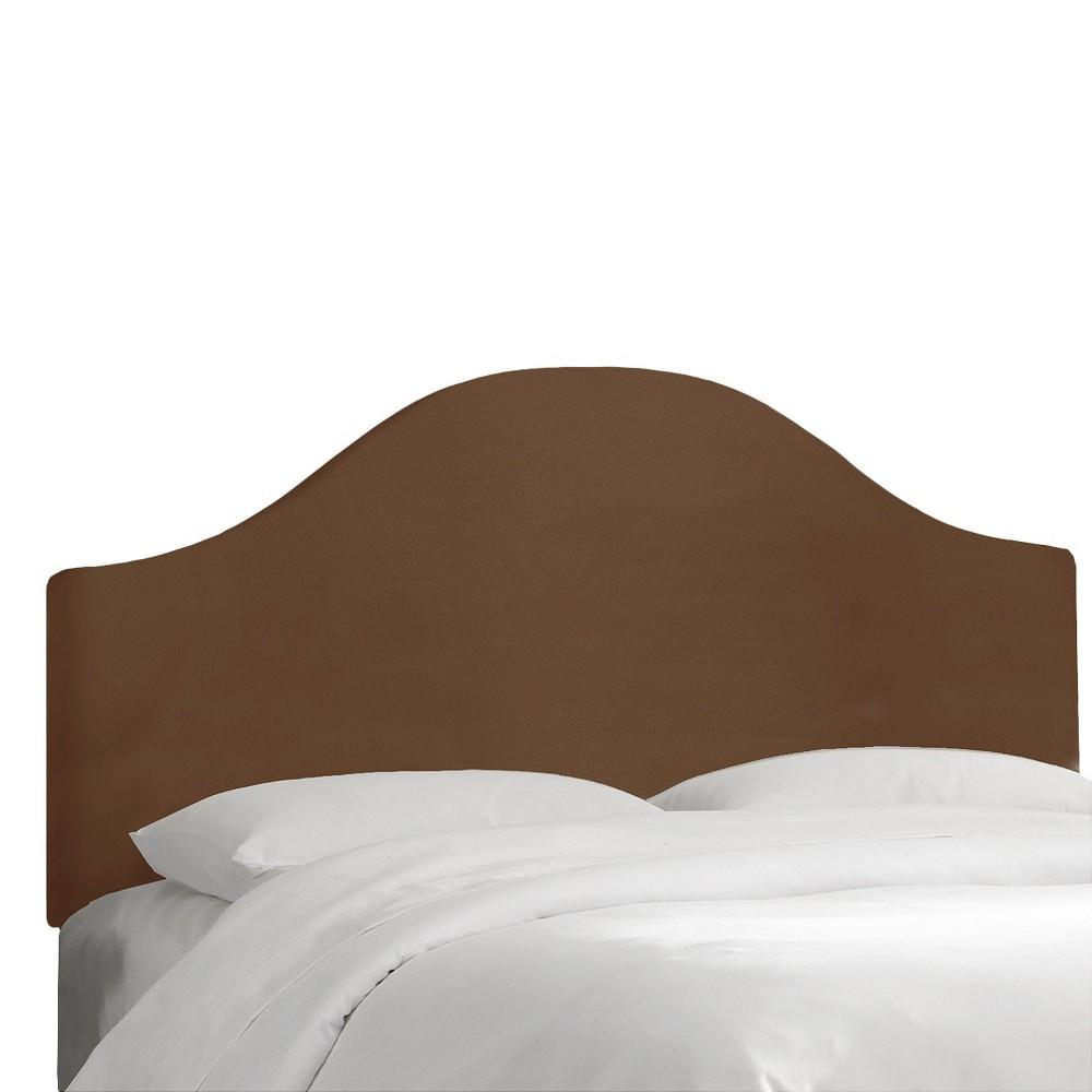 Custom Upholstered Curved Headboard - Velvet Chocolate - California King - Skyline Furniture