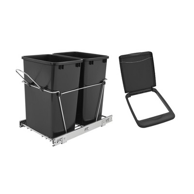 Rev-A-Shelf Double 35 Qt Pull-Out Waste Bin Containers & Flip Top Waste Bin Lid