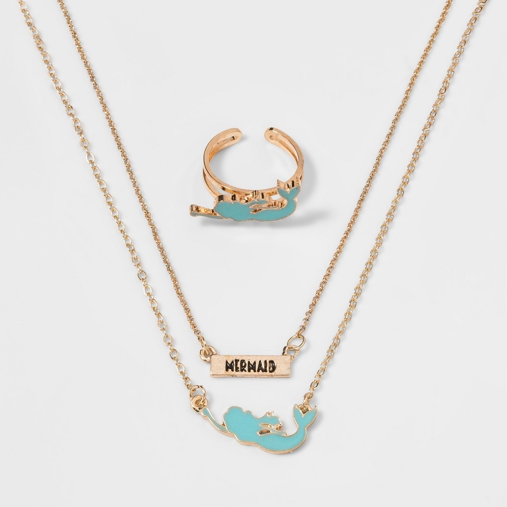 Girls' Mermaid Ring & Necklace Set - Cat & Jack One Size, Multi-Colored