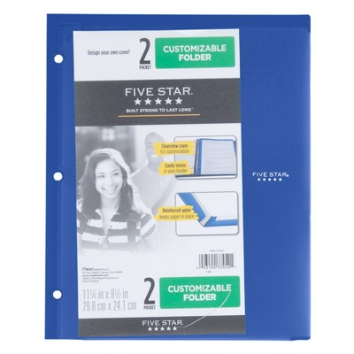 Customizable Plastic Folder 2 Pocket   Five Star by Five Star