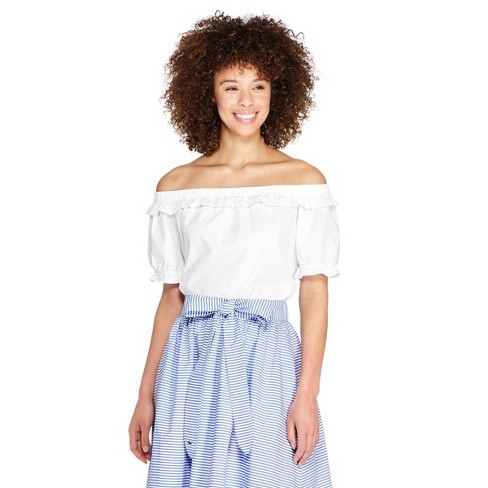 7bbe6eea6581e1 Women's Off the Shoulder Short Sleeve Bardot Top - White - vineyard vines®  for Target