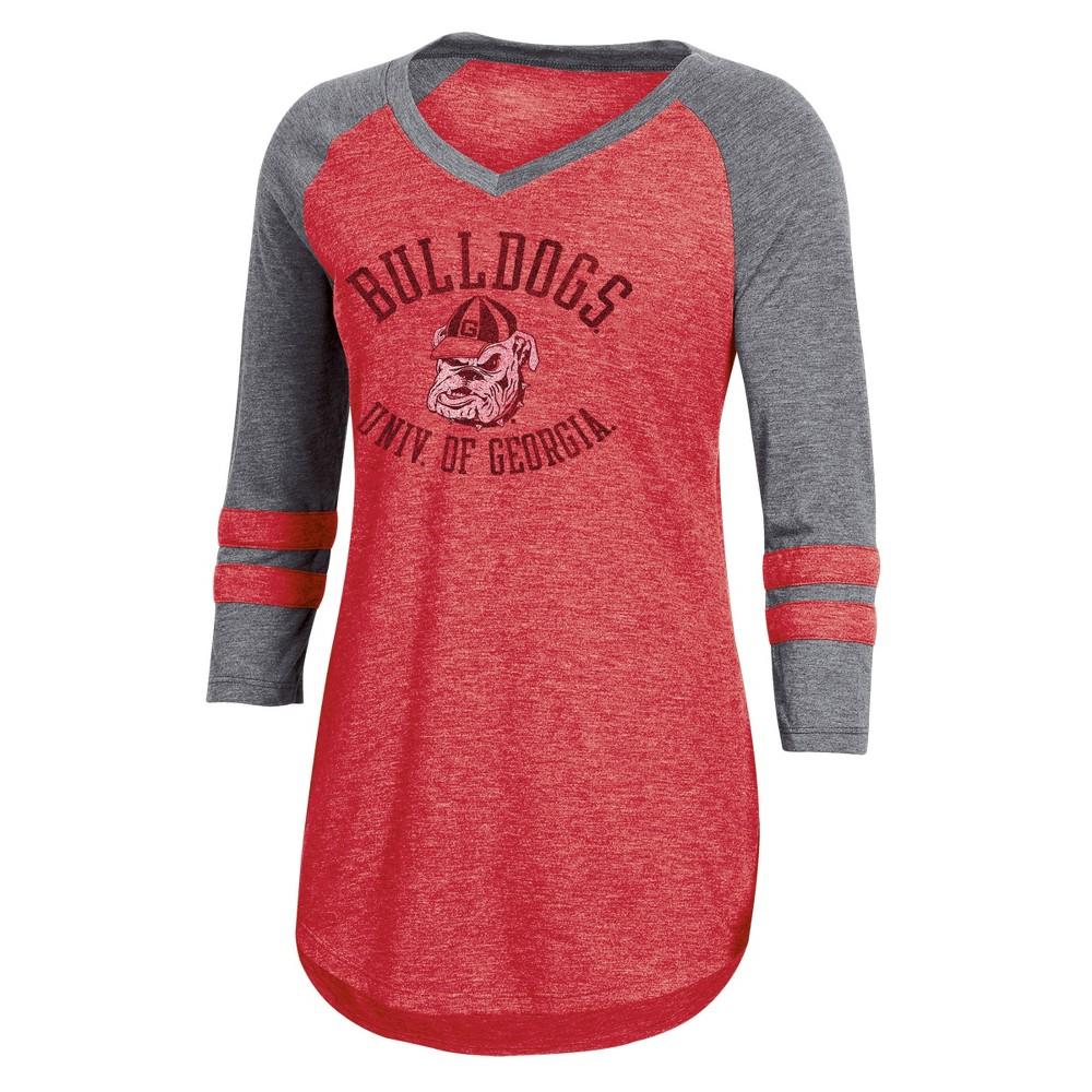 NCAA Women's 3/4 Sleeve V-Neck T-Shirt Georgia Bulldogs - S, Multicolored