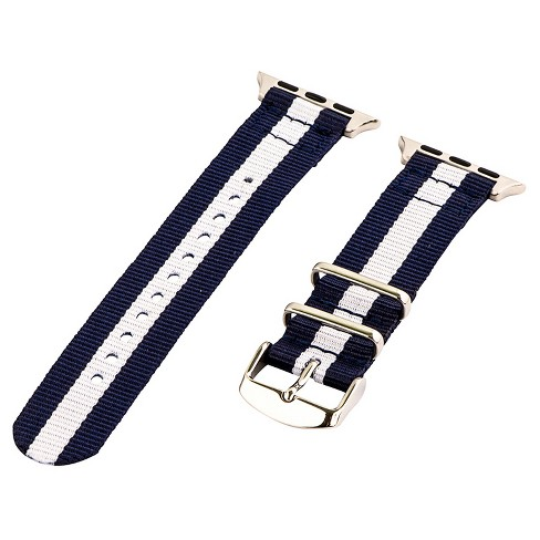 Clockwork Synergy Classic Nato 2 Apple Watch Band 38mm with Steel Adapter - Navy Blue/White - image 1 of 1