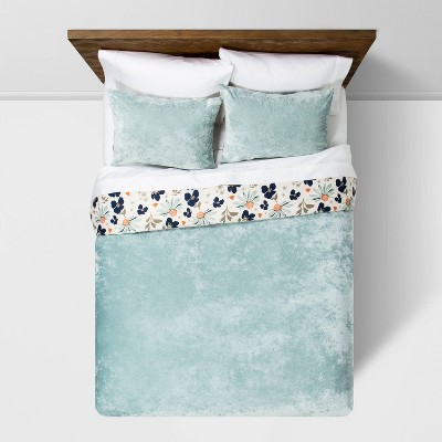 F/Q Dusty Jade Reversible Velvet Floral Print Duvet & Sham Set - Opalhouse™