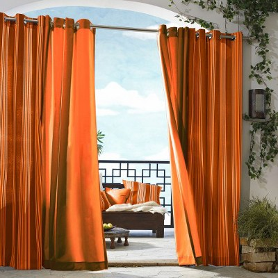'Outdoor Décor Gazebo Stripe Indoor/Outdoor Grommet Top Curtain Panel -Orange (50''x96''), Size: 50x96'''