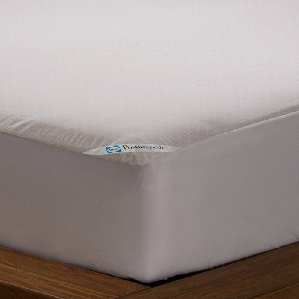 Image of Allergy Protection Zippered Mattress Protector White (King) - Sealy Posturepedic