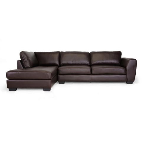 Brilliant Orland Leather Modern Sectional Sofa Set With Left Facing Chaise Brown Baxton Studio Alphanode Cool Chair Designs And Ideas Alphanodeonline