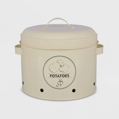"8"" Potato Storage Metal Tin Ivory - Esschert Design"
