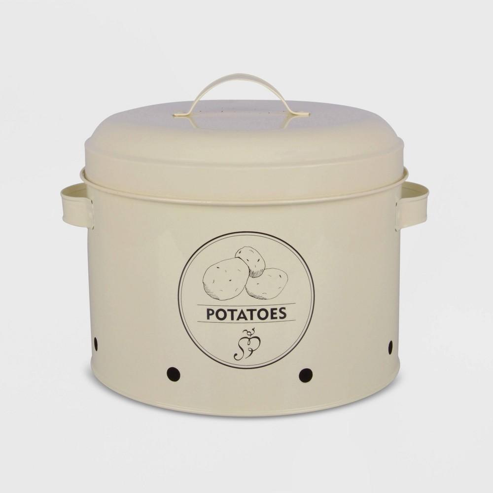 8 Potato Storage Metal Tin Ivory - Esschert Design