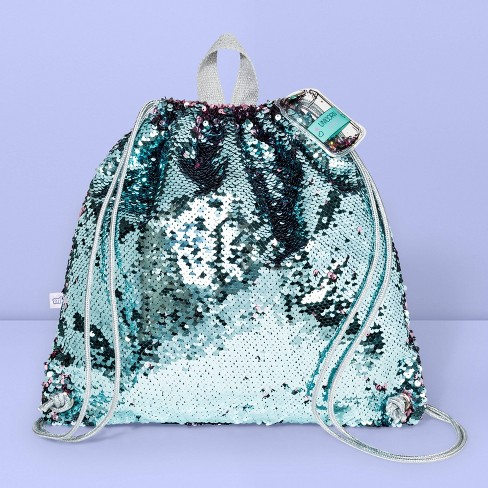 Girls' Flip Sequin Drawstring Backpack - More Than Magic™ Blue/Pink - image 1 of 2