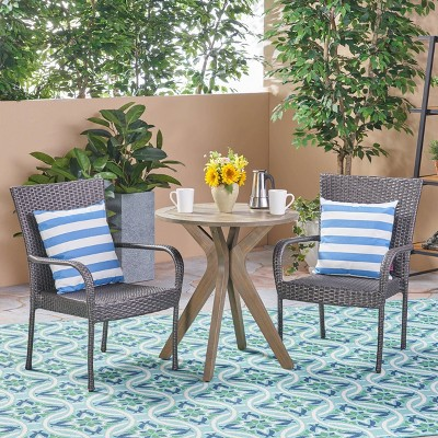Sanders 3pc Acacia Wood & Wicker Bistro Set - Gray - Christopher Knight Home
