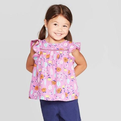 Toddler Girls' Floral Print Blouse - Cat & Jack™ Purple - image 1 of 3