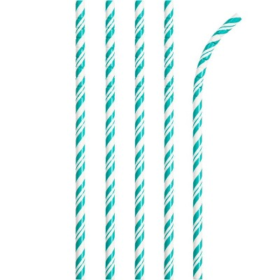 24ct Striped Party Paper Straws Teal