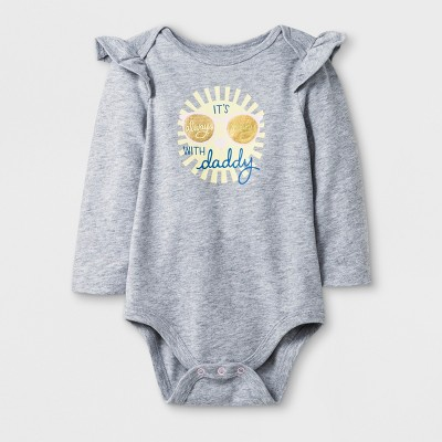 Baby Girls' Long Sleeve  Its Always Sunny with Daddy  Bodysuit - Cat & Jack™ Heather Gray Newborn