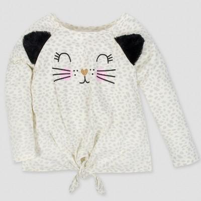 Gerber® Toddler Girls' Long Sleeve Leopard Spot Top - Gray 3T