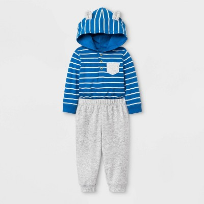 Baby Boys' 2pc Hooded Critter Top and Bottom Set - Cat & Jack™ Blue/Gray 0-3M