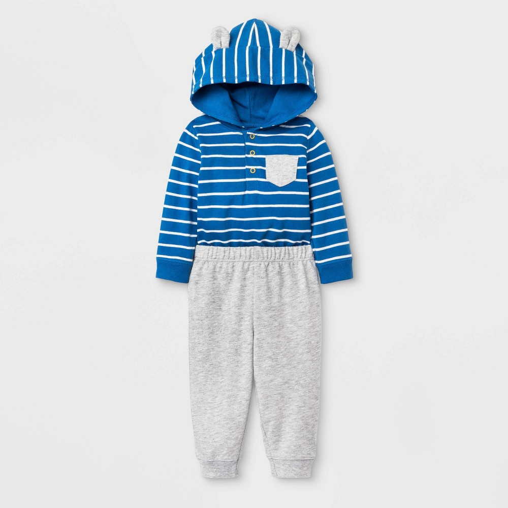 Image of Baby Boys' 2pc Hooded Critter Top and Bottom Set - Cat & Jack Blue/Gray 0-3M, Boy's