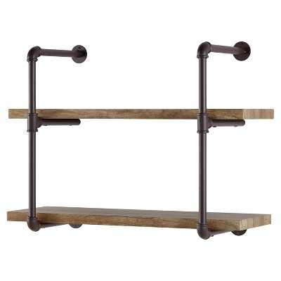 31.5  x 24  Two Tier Industrial Pipe Wall Shelf Brown - Danya B.