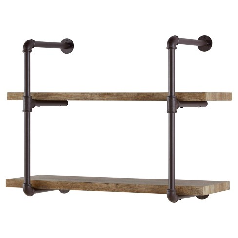 Two Tier Industrial Pipe Wall Shelf - Danya B. : Target