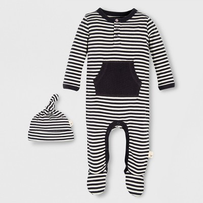 Burt's Bees Baby Organic Cotton Candy Cane Stripe Footed Coverall & Hat - Black/White 3-6M