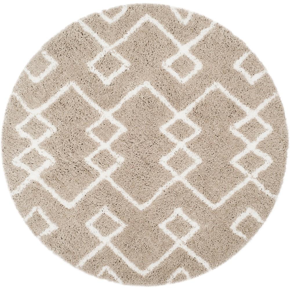 5 39 Geometric Design Tufted Round Area Rug Silver Tan Safavieh