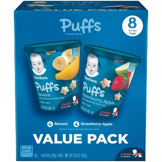 Gerber Puffs Snack Cup Variety Pack Strawberry Apple & Banana - 0.70oz/8ct