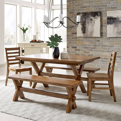 Sedona Rectangular Trestle Dining Table with 2 Benches and 2 Chairs Toffee - Home Styles