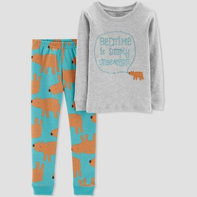 Baby Boys' 2pc Bedtime is Simply Unbearable Organic Cotton Pajama Set - Little Planet by Carter's Gray 12M