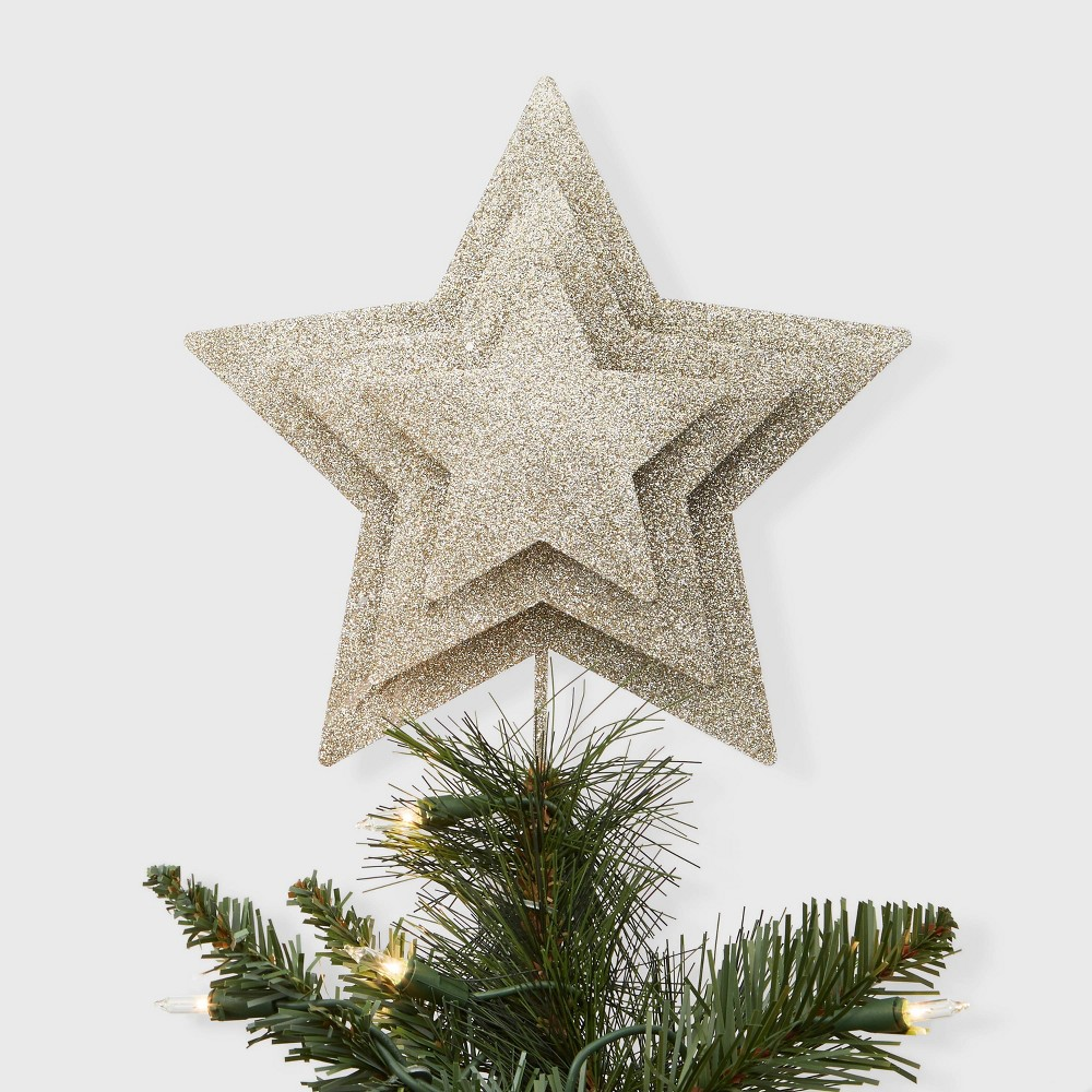 """Image of """"10"""""""" x 8"""""""" Unlit Layered Metal Glitter Star Christmas Tree Topper with Clip Gold - Wondershop"""""""