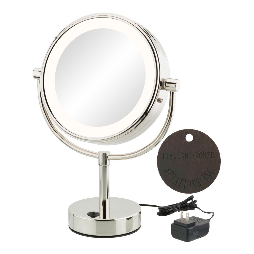 "Image of ""Aptations 5""""x1"""" Neomodern Led Lighted Freestanding Double Sided Vanity Mirror Italian Bronze, Yellow"""